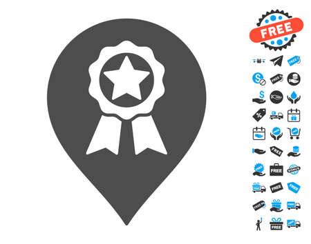 Award Seal Marker grey icon with free bonus symbols. Vector illustration style is flat iconic symbols.