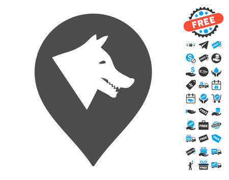 Evil Dog Marker grey pictograph with free bonus graphic icons. Vector illustration style is flat iconic symbols.