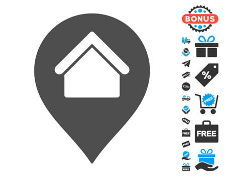 Home Marker grey pictograph with free bonus graphic icons. Vector illustration style is flat iconic symbols.