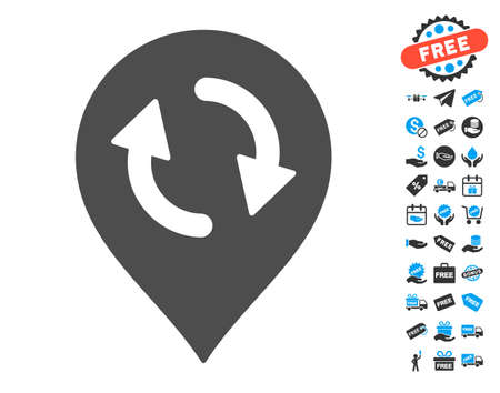 map pin: Refresh Map Marker grey icon with free bonus symbols. Vector illustration style is flat iconic symbols. Illustration