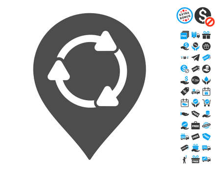map pin: Rotation Map Marker gray icon with free bonus icon set. Vector illustration style is flat iconic symbols. Illustration