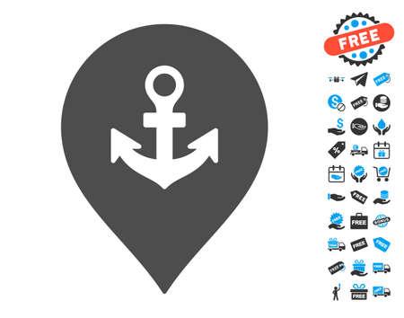 ship anchor: Sea Port Marker grey icon with free bonus images. Vector illustration style is flat iconic symbols. Illustration