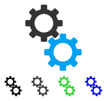 Gears flat vector pictograph. Colored gears, gray, black, blue, green pictogram versions. Flat icon style for application design.