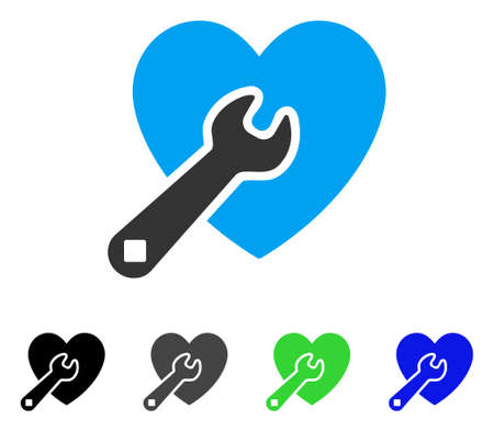 Heart Wrench Tools flat vector pictogram. Colored heart wrench tools, gray, black, blue, green icon versions. Flat icon style for graphic design. Illustration