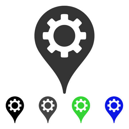 Industry Map Marker flat vector icon. Colored industry map marker, gray, black, blue, green pictogram versions. Flat icon style for graphic design.