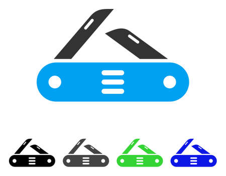 Swiss Multitool Knife flat vector illustration. Colored swiss multitool knife, gray, black, blue, green pictogram variants. Flat icon style for web design. Illustration