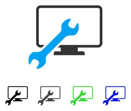 Moersleutel Configureren Desktop platte vector pictogram. Gekleurde sleutel configureer desktop, grijs, zwart, blauw, groene pictogramvarianten. Platte pictogramstijl voor grafisch ontwerp.