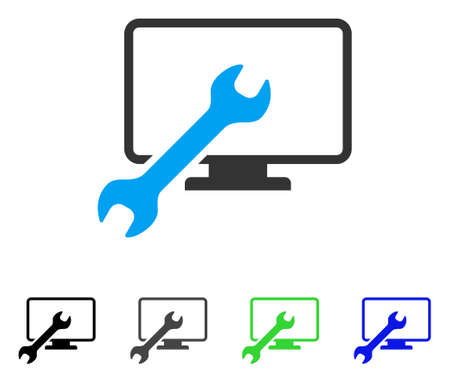 Wrench Configure Desktop flat vector icon. Colored wrench configure desktop, gray, black, blue, green pictogram variants. Flat icon style for graphic design.