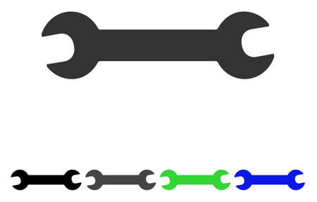 Wrench flat vector icon. Colored wrench, gray, black, blue, green icon variants. Flat icon style for graphic design.