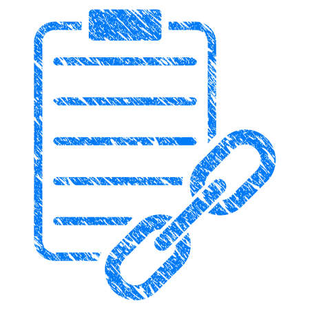 Grunge Blockchain Contract rubber seal stamp watermark. Icon symbol with grunge design and dirty texture. Unclean vector blue emblem. Illustration