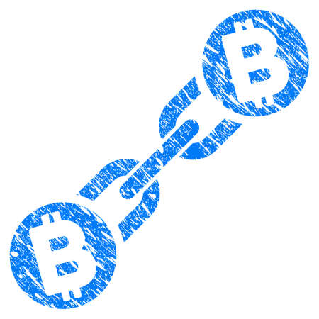 Grunge Bitcoin Blockchain rubber seal stamp watermark. Icon symbol with grunge design and dirty texture. Unclean vector blue sign.