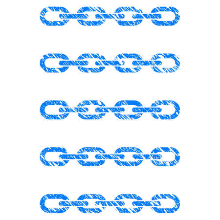 Grunge Blockchain List rubber seal stamp watermark. Icon symbol with grunge design and unclean texture. Unclean vector blue sign.