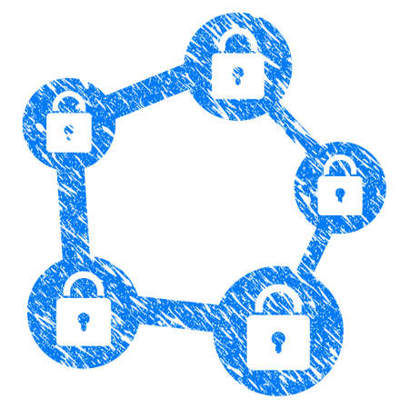 Grunge Blockchain Network rubber seal stamp watermark. Icon symbol with grunge design and unclean texture. Unclean vector blue sign.