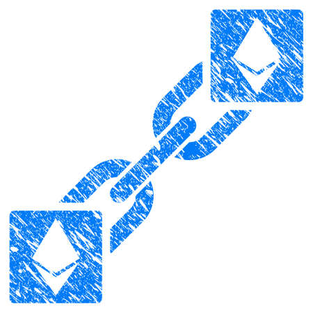 Grunge Ethereum Blockchain rubber seal stamp watermark. Icon symbol with grunge design and scratched texture. Unclean vector blue sign.