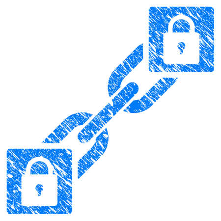 Grunge Lock Blockchain rubber seal stamp watermark. Icon symbol with grunge design and scratched texture. Unclean vector blue sign.