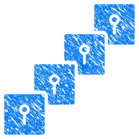 Grunge Locker Blockchain rubber seal stamp watermark. Icon symbol with grunge design and dirty texture. Unclean vector blue sticker.