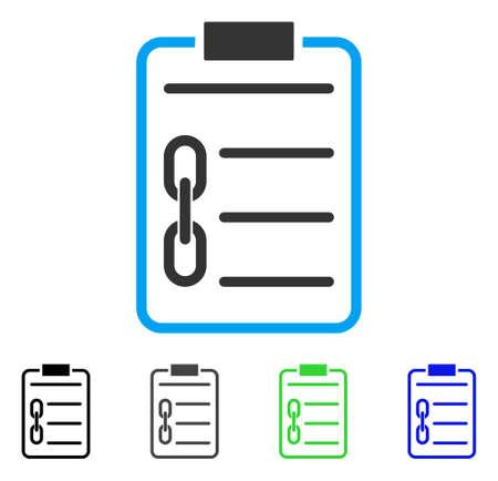 Blockchain Vertrag flache Vektor-Piktogramm. Farbiger Blockchain-Vertrag, grau, schwarz, blau, grüne Icon-Varianten. Flache Icon-Stil für das Anwendungsdesign.