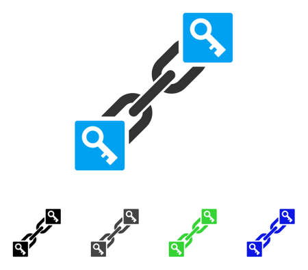 Key Blockchain flat vector pictogram. Colored key blockchain, gray, black, blue, green pictogram variants. Flat icon style for application design. Illustration