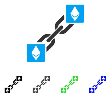 Ethereum Blockchain flat vector icon. Colored ethereum blockchain, gray, black, blue, green pictogram versions. Flat icon style for web design.