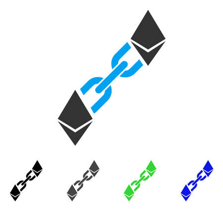 Ethereum Blockchain flat vector pictograph. Colored ethereum blockchain, gray, black, blue, green icon variants. Flat icon style for graphic design.