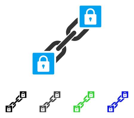 Lock Blockchain flat vector icon. Colored lock blockchain, gray, black, blue, green pictogram versions. Flat icon style for web design. Illustration