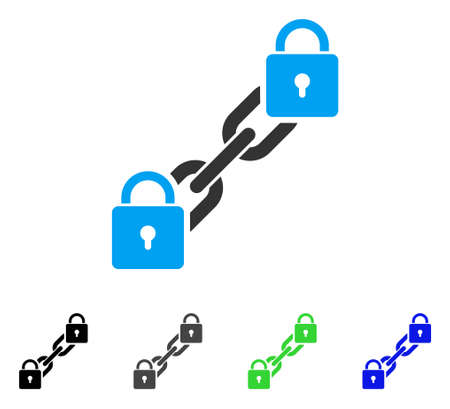 Lock Blockchain flat vector icon. Colored lock blockchain, gray, black, blue, green pictogram variants. Flat icon style for web design.