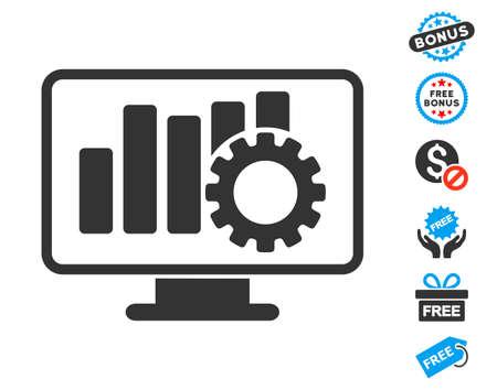 Grafiek Configureer grijs afbeeldingspictogram met gratis bonusontwerpelementen. Vector illustratie stijl is plat iconische symbolen. Stock Illustratie