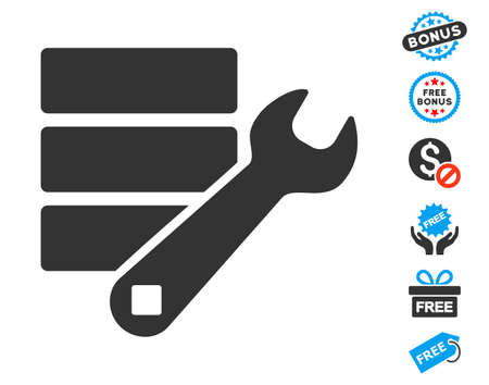 db: Database Wrench Tools gray pictograph with free bonus pictures. Vector illustration style is flat iconic symbols.