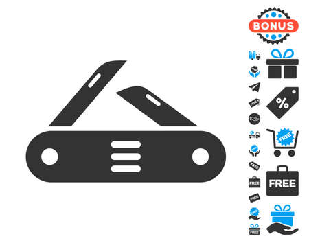 Swiss Multitool Knife grey icon with free bonus icon set. Vector illustration style is flat iconic symbols.