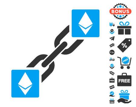Ethereum Blockchain pictograph with free bonus symbols. Vector illustration style is flat iconic symbols. Illustration