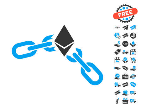 Ethereum Broken Chain pictograph with free bonus pictograph collection. Vector illustration style is flat iconic symbols.