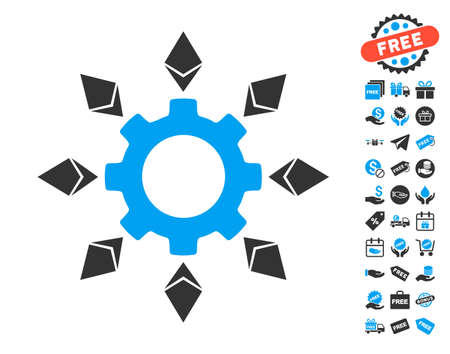 Ethereum Configuration Gear icon with free bonus symbols. Vector illustration style is flat iconic symbols.
