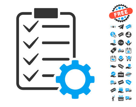 Smart Contract Gear pictograph with free bonus clip art. Vector illustration style is flat iconic symbols. Vectores