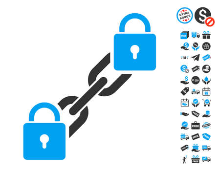 Lock Blockchain pictograph with free bonus graphic icons. Vector illustration style is flat iconic symbols.