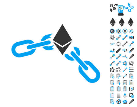 Ethereum Broken Chain pictograph with bonus smart contract pictograph collection. Vector illustration style is flat iconic symbols,modern colors. Illustration