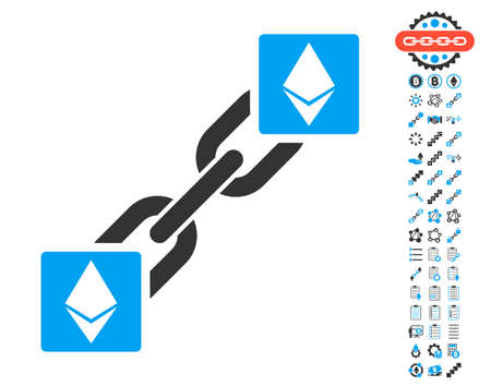 Ethereum Blockchain pictograph with bonus crypto currency images. Vector illustration style is flat iconic symbols,modern colors.