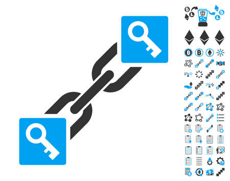 Key Blockchain icon with bonus smart contract icon set. Vector illustration style is flat iconic symbols,modern colors.