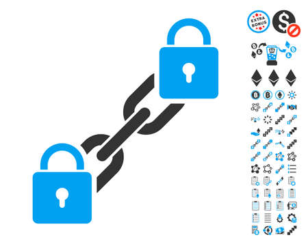 Lock Blockchain pictograph with bonus crypto currency graphic icons. Vector illustration style is flat iconic symbols,modern colors. Illustration