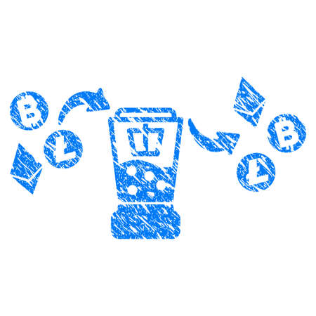 Grunge Cryptocurrency Mixer rubber seal stamp watermark. Icon symbol with grunge design and dirty texture. Unclean raster blue sticker.