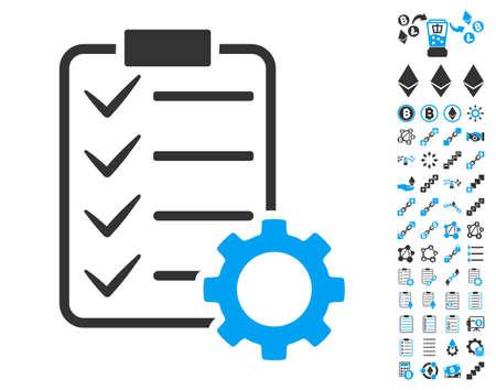 Icono de engranaje de contrato inteligente con bono de clip de arte de contrato inteligente. El estilo de la ilustración del vector es símbolos icónicos planos, colores modernos.