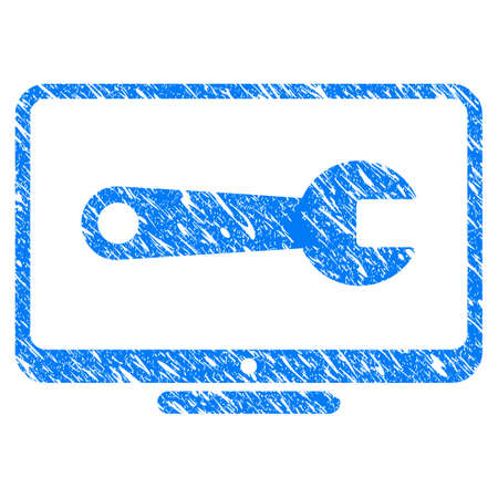 Grunge Desktop Configuration Wrench icon with grunge design and unclean texture. Unclean raster blue pictogram for rubber seal stamp imitations and watermarks. Draft sticker symbol. Stock Photo