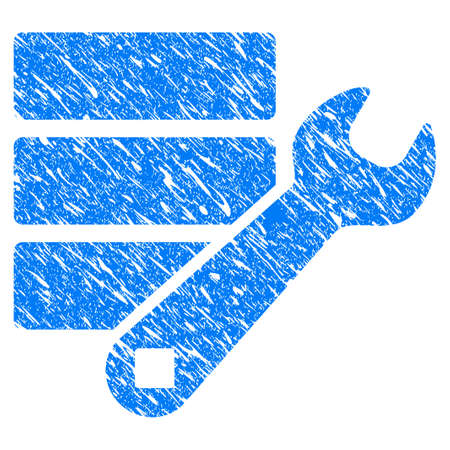Grunge Database Wrench Tools icon with grunge design and scratched texture. Unclean raster blue pictogram for rubber seal stamp imitations and watermarks. Draft sticker symbol. Stock Photo