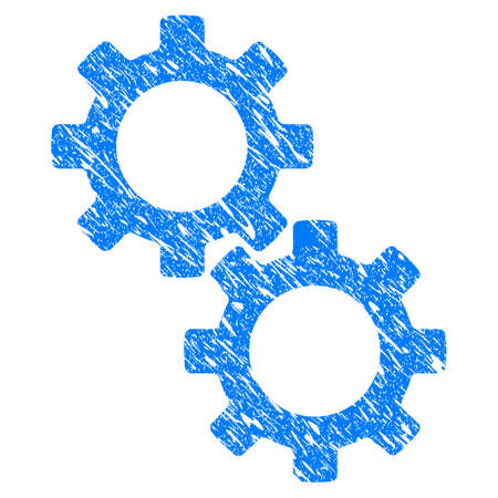 scratched: Grunge Gears icon with grunge design and dirty texture. Unclean raster blue pictogram for rubber seal stamp imitations and watermarks. Draft sign symbol.