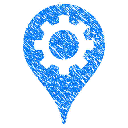map pin: Grunge Industry Map Marker icon with grunge design and dust texture. Unclean raster blue pictogram for rubber seal stamp imitations and watermarks. Draft sign symbol.