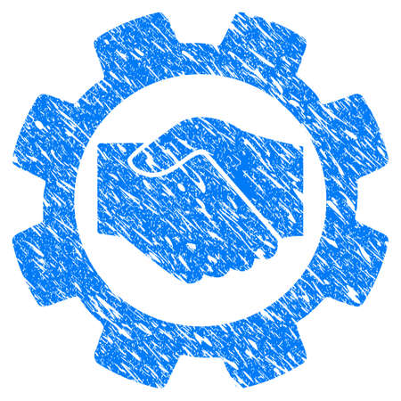 scratched: Grunge Smart Contract Setup Gear icon with grunge design and dirty texture. Unclean raster blue pictogram for rubber seal stamp imitations and watermarks. Draft sign symbol.