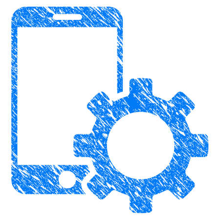 Grunge Smartphone Configuration Gear icon with grunge design and dust texture. Unclean raster blue pictogram for rubber seal stamp imitations and watermarks. Draft sticker symbol.