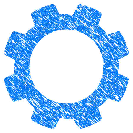 Grunge Gear icon with grunge design and scratched texture. Unclean vector blue pictogram for rubber seal stamp imitations and watermarks. Draft sticker symbol.