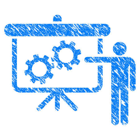 Grunge Gears Presentation Lecture icon with grunge design and scratched texture. Unclean vector blue pictogram for rubber seal stamp imitations and watermarks. Draft emblem symbol.