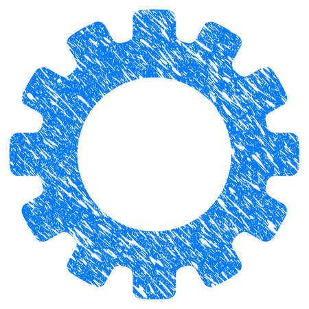 Grunge Gearwheel icon with grunge design and unclean texture. Unclean vector blue pictogram for rubber seal stamp imitations and watermarks. Draft sign symbol. Illustration