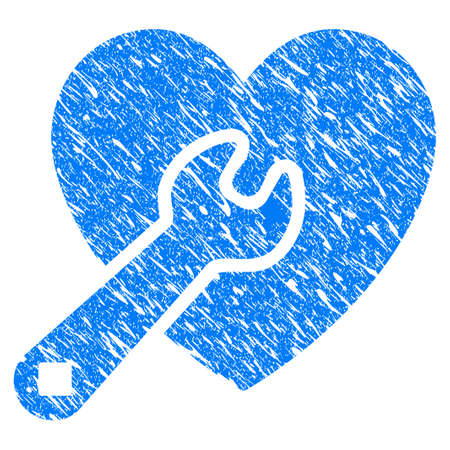 Grunge Heart Wrench Tools icon with grunge design and dirty texture. Unclean vector blue pictogram for rubber seal stamp imitations and watermarks. Draft emblem symbol.